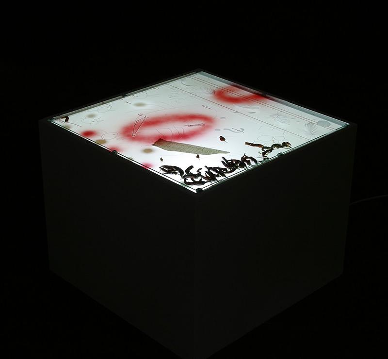 pjeskarenje, laminiranje, airbrush / sanding, lamination, airbrush, 64x64x51x51 cm, 2005.